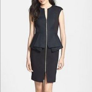 Ted Baker London Jamthun Zip Front Peplum Dress